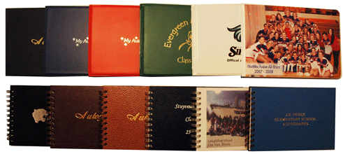 vinyl and leatherette autograph book assortment