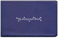 blue vinyl autograph book with stock stars motif