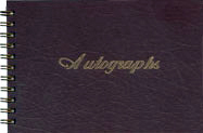 wirebound leatherette autograph book with stock script motif