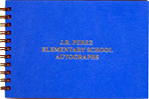 blue wirebound autograph book with custom gold imprinting
